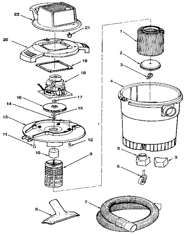 Craftsman model 113177360 wet/dry vacuum genuine parts