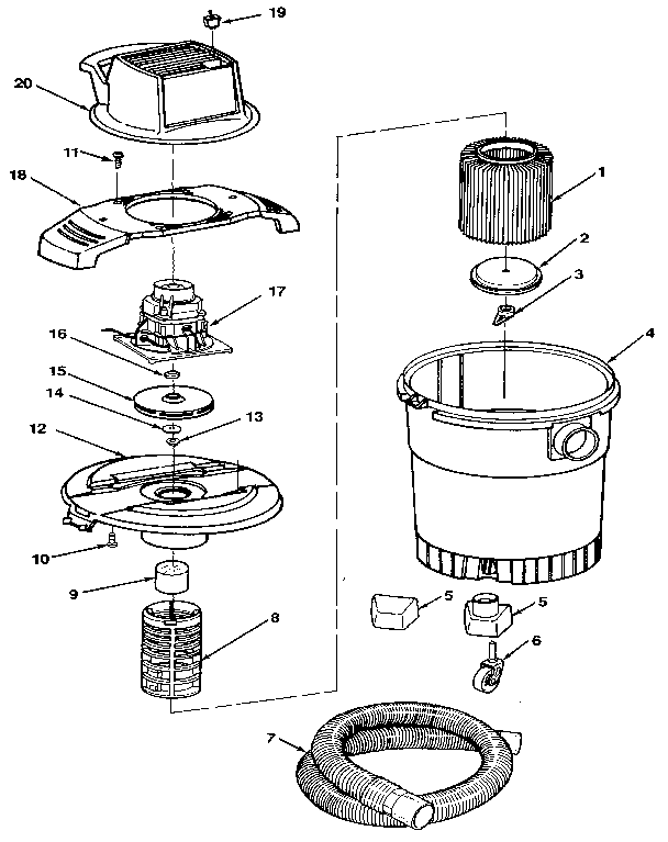 Craftsman model 113177440 wet/dry vacuum genuine parts