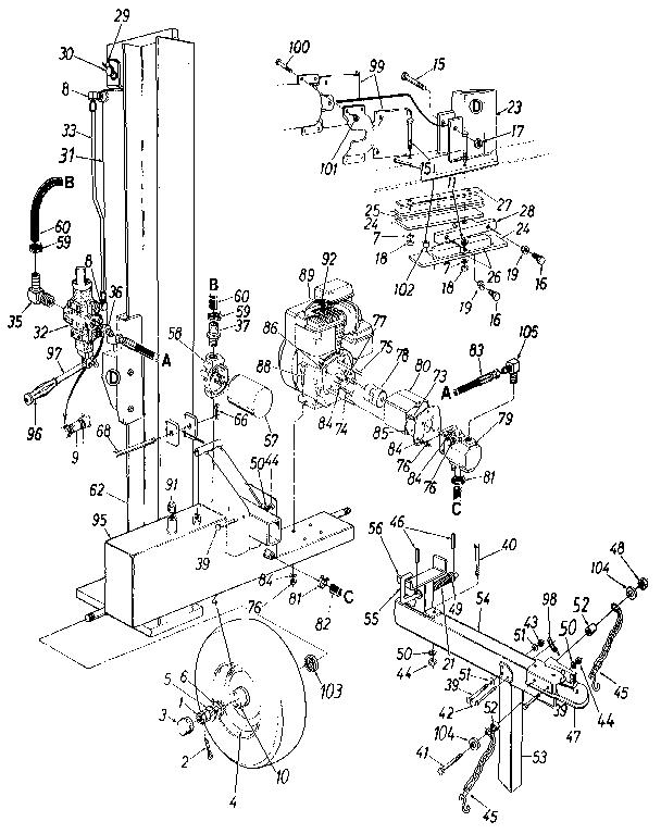 Craftsman model 247287740 log splitter genuine parts