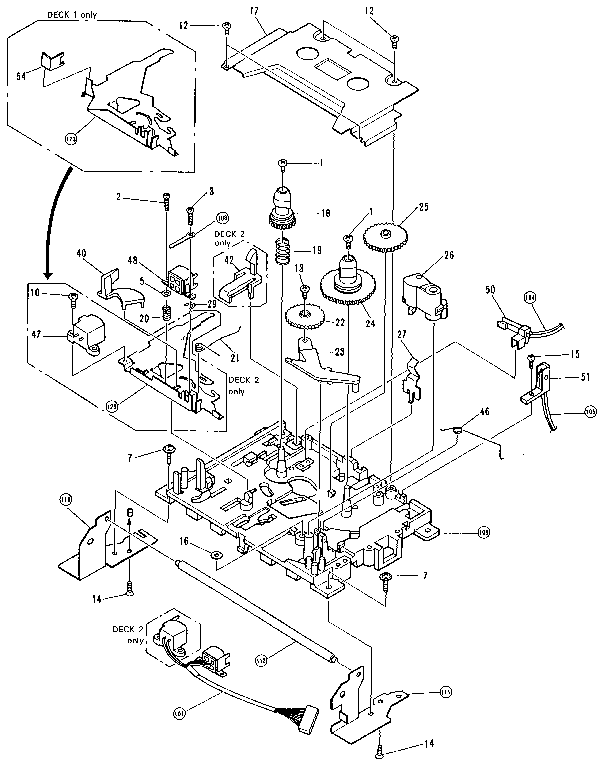 Pioneer model RX-550/551 tape deck genuine parts