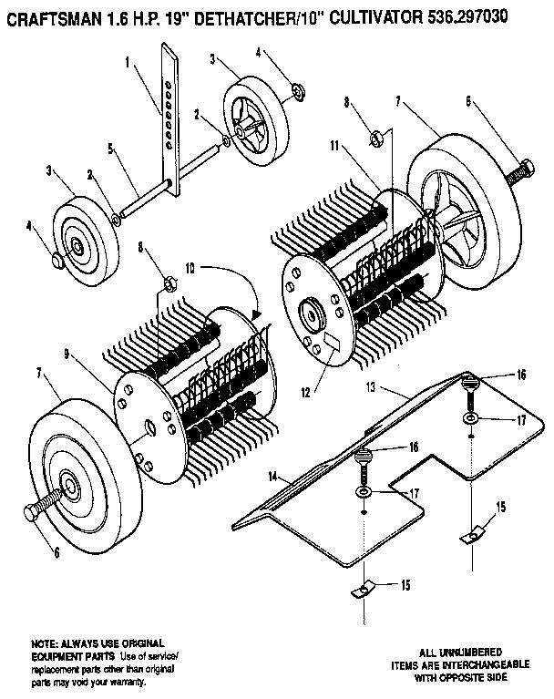 Craftsman model 536297030 rear tine, gas tiller genuine parts