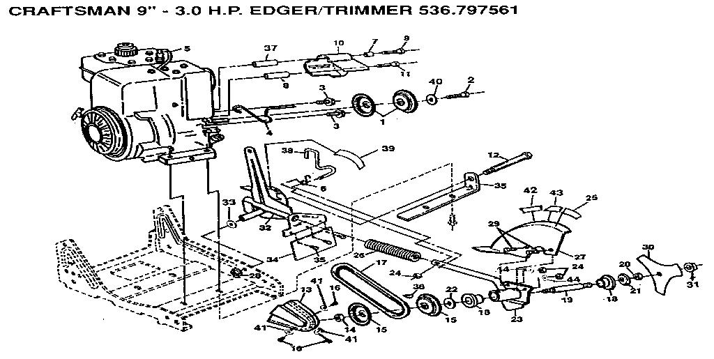 Craftsman model 536797561 edger genuine parts
