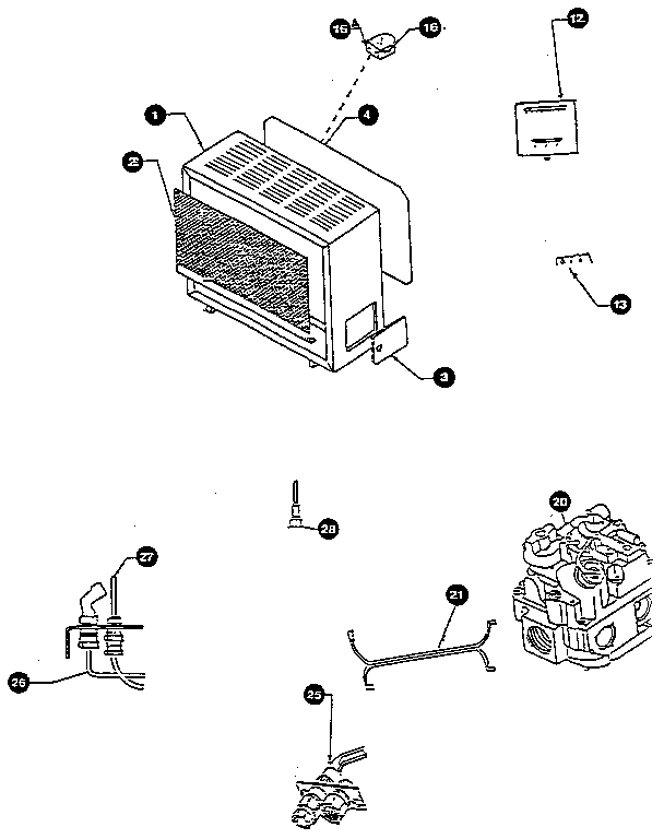 Schwank model WVC250SEL space heaters/wall unit genuine parts