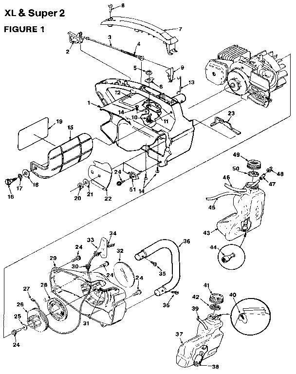 Homelite model UT-10654 chainsaw, gas genuine parts