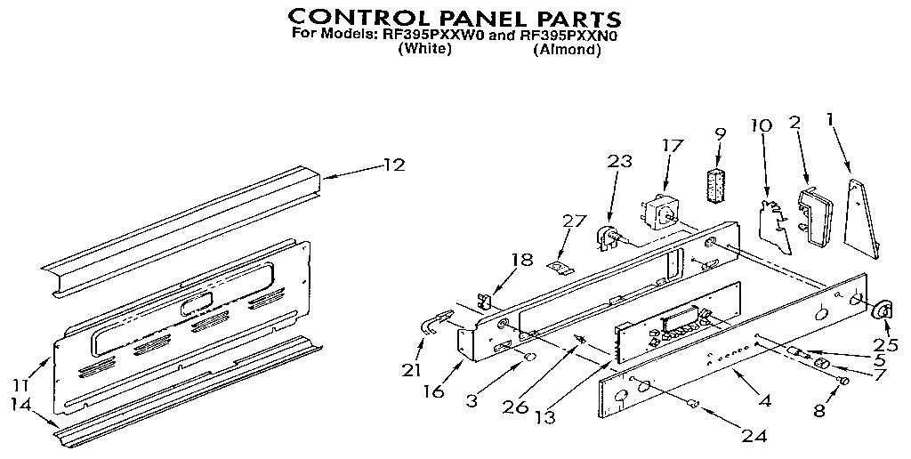 Whirlpool model RF395PXXN0 ranges, electric genuine parts