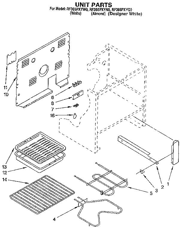 Whirlpool model RF365PXYW0 ranges, electric genuine parts