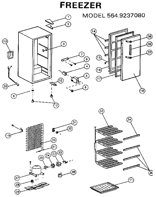 Kenmore model 5649237080 upright freezer genuine parts