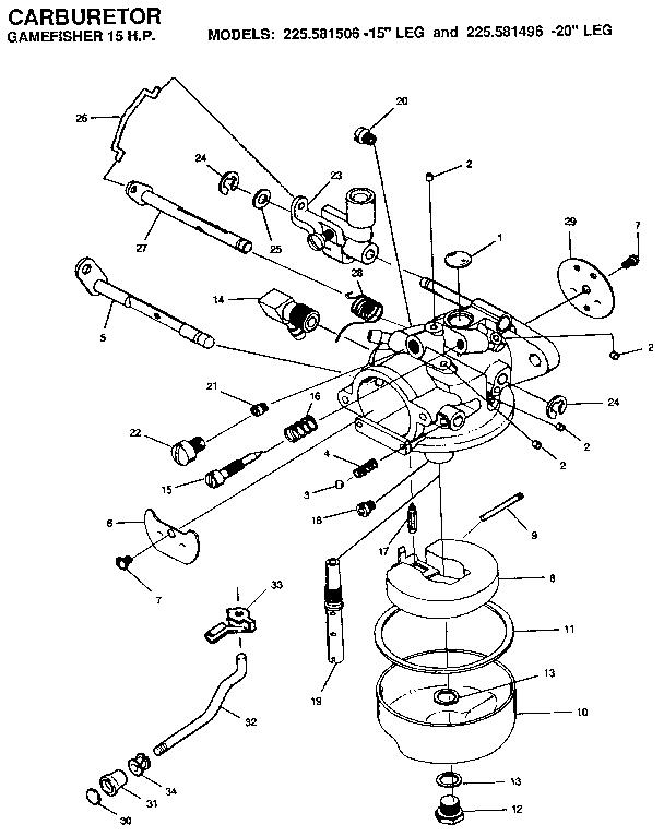 Craftsman model 225581506 boat motor gas genuine parts