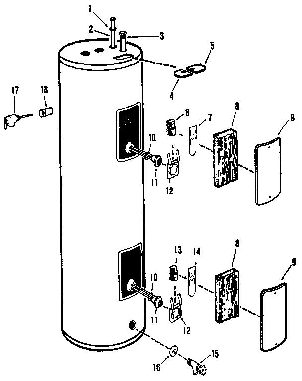 Rheem model 81V52 water heater, electric genuine parts