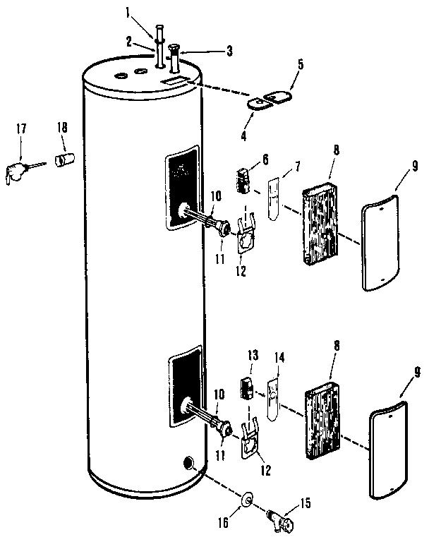 Rheem model 81KR40 water heater, electric genuine parts