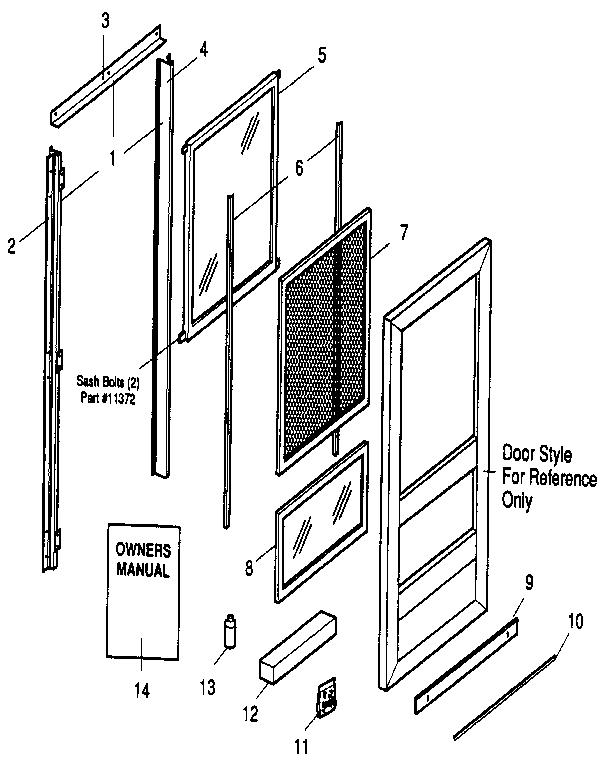 Sears model 94865327231 storm/screen door genuine parts