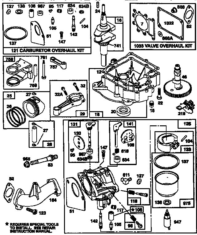 Briggs-Stratton model 28N707-0121-01 engine genuine parts