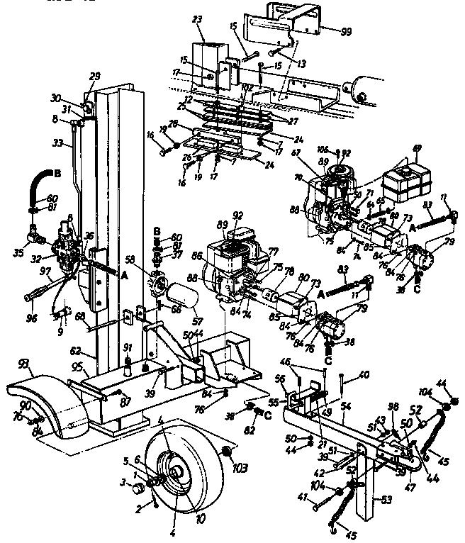 Craftsman model 24734525 log splitter genuine parts