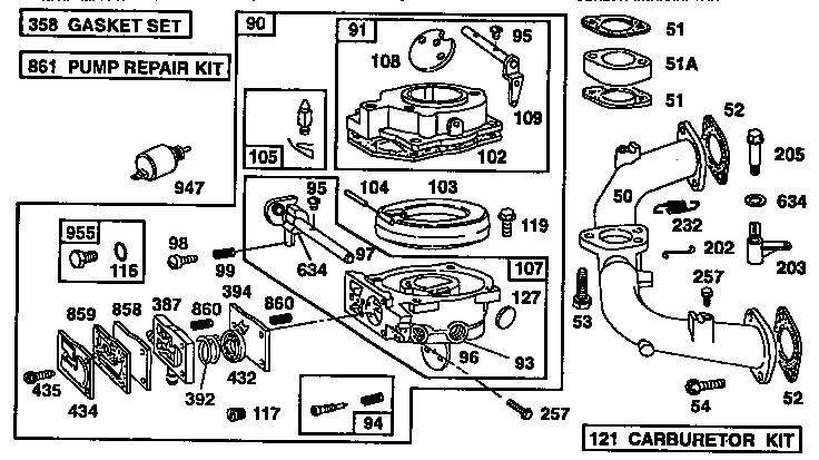 Briggs-Stratton model 402707-1242-01 engine genuine parts