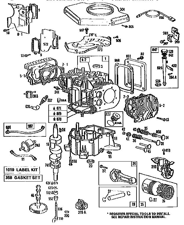 Briggs-Stratton model 422707-1267-01 engine genuine parts