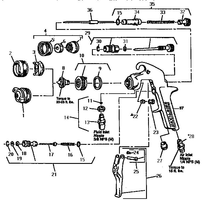 Devilbiss model JGA-503 power sprayer genuine parts