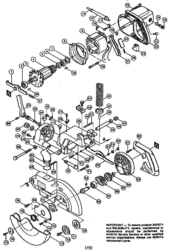 Makita model LS1011 miter saw genuine parts