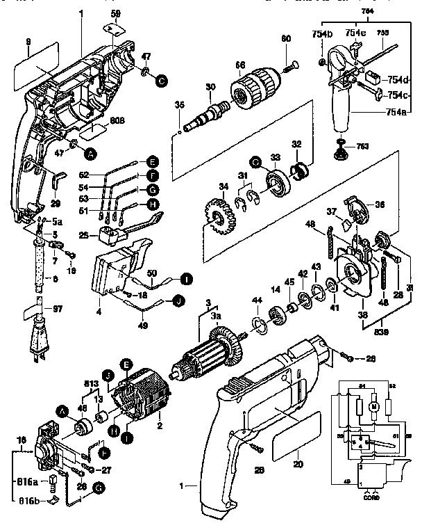 Bosch model B6500 drill hammer genuine parts