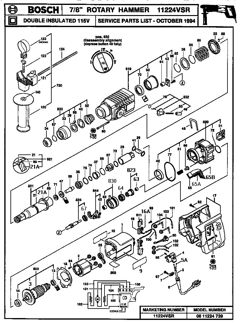 Bosch model 11224VSR rotary hammer genuine parts