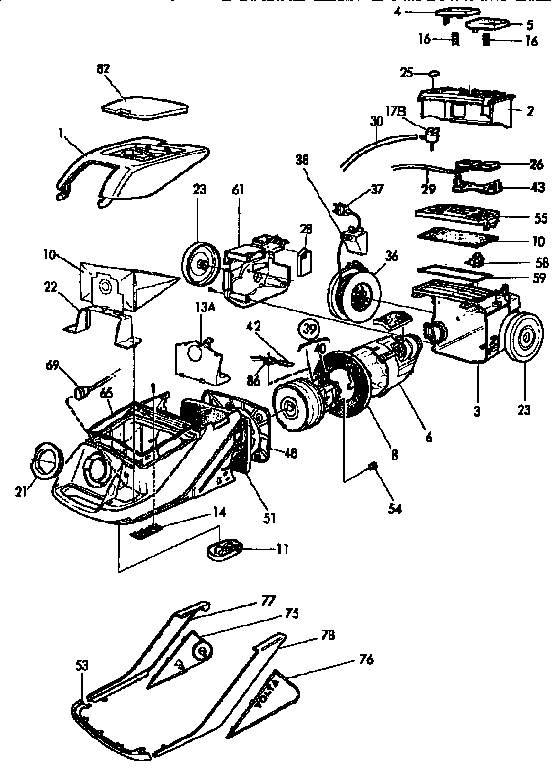Eureka model 6975A vacuum, canister genuine parts