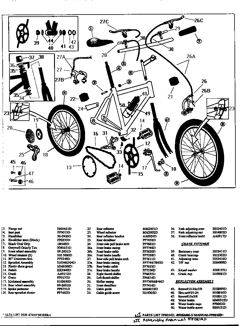 Roadmaster model 3810SRA bicycles genuine parts
