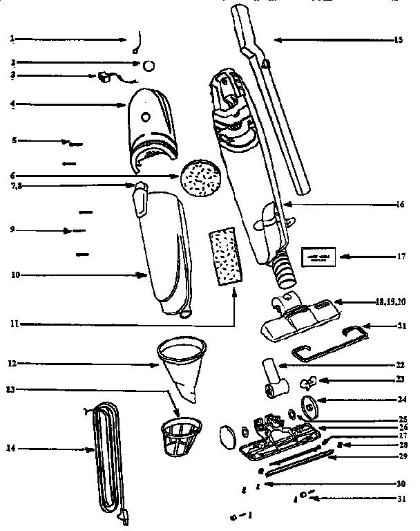 Eureka model 296A vacuum, upright genuine parts