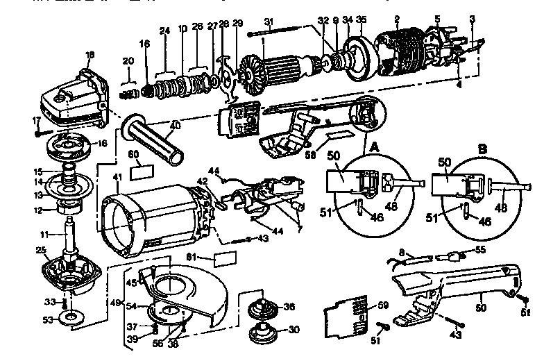 Dewalt model DW474 grinder angle genuine parts
