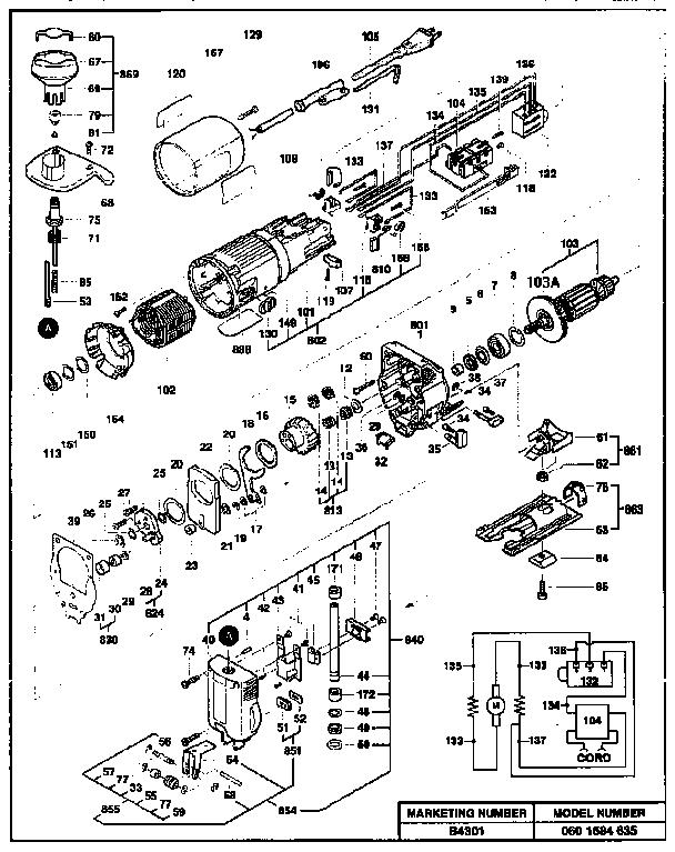 Bosch model B4301 saw scroll genuine parts