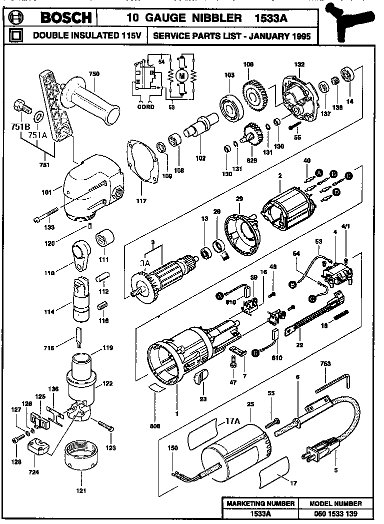 Bosch model 1533A shear attachment genuine parts