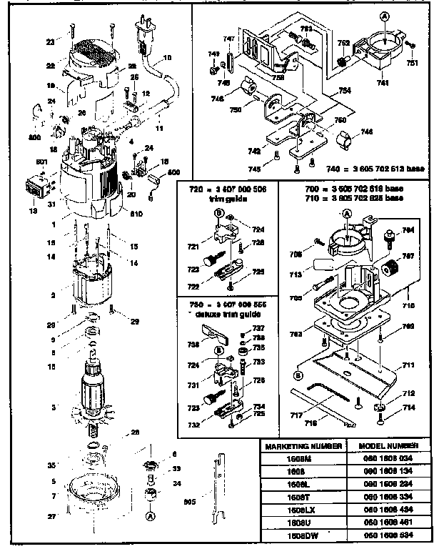 Bosch model 1608 laminate trimmer genuine parts