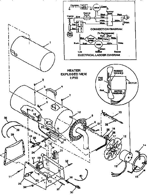 Desa model BLP50 heater/lp gas genuine parts