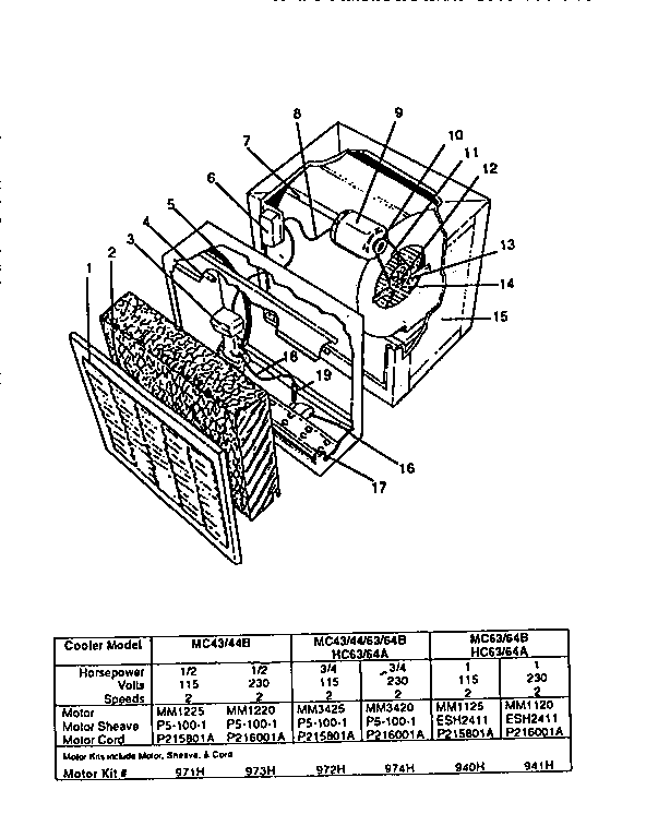 Kenmore model 67480 evaporative cooler genuine parts