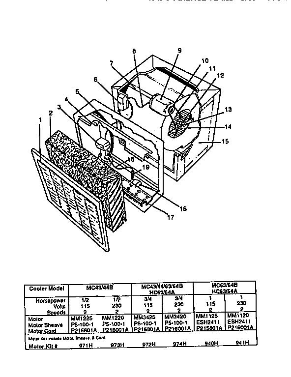 Kenmore model 67650 evaporative cooler genuine parts