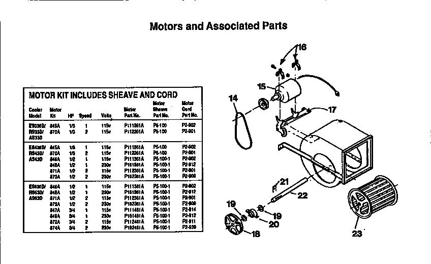Adobe-Aire model ES430/871A evaporative cooler genuine parts