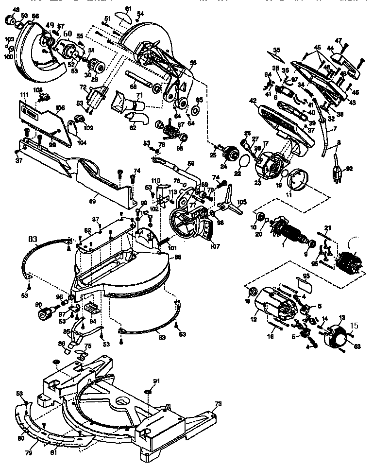 Dewalt model DW705 miter saw genuine parts