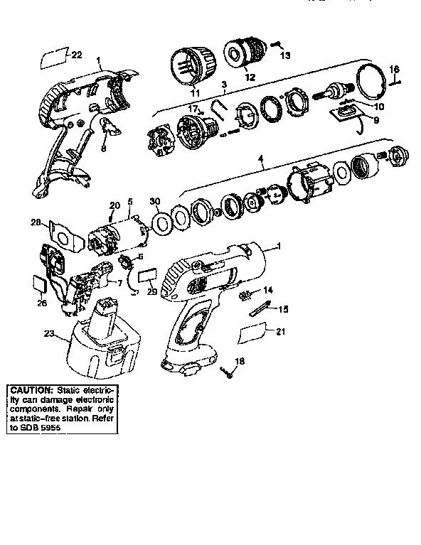 Dewalt model DW991 drill cordless genuine parts