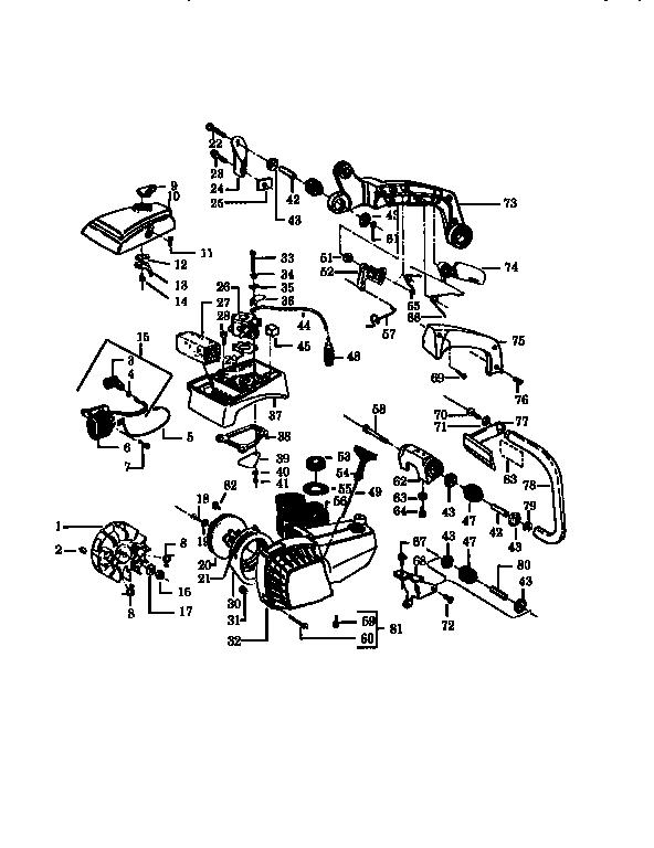 Poulan model 2300CVA chainsaw, gas genuine parts