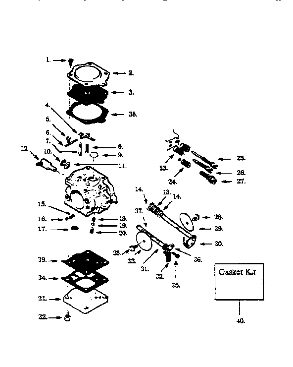 Poulan model 415 chainsaw, gas genuine parts