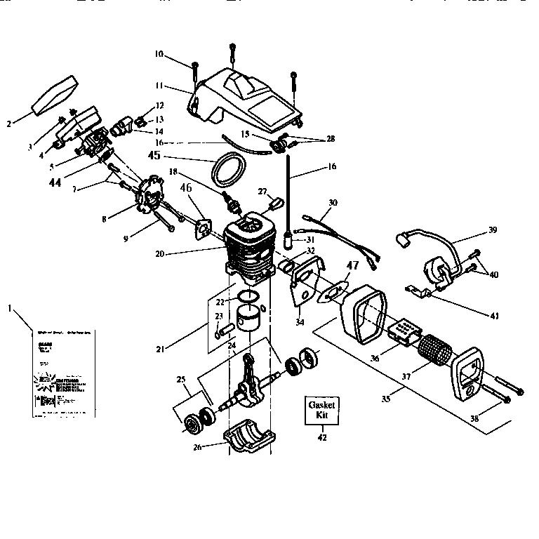 Craftsman model 358351061 chainsaw, gas genuine parts