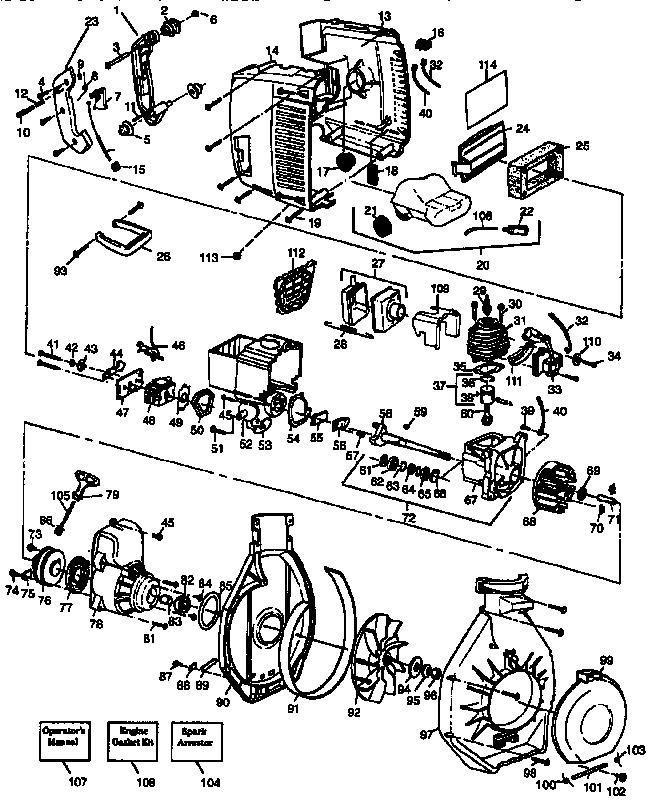 Craftsman model 358797983 blower, gas genuine parts