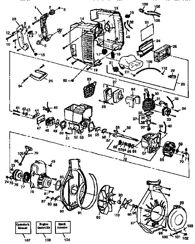 Craftsman model 358798980 blower, gas genuine parts