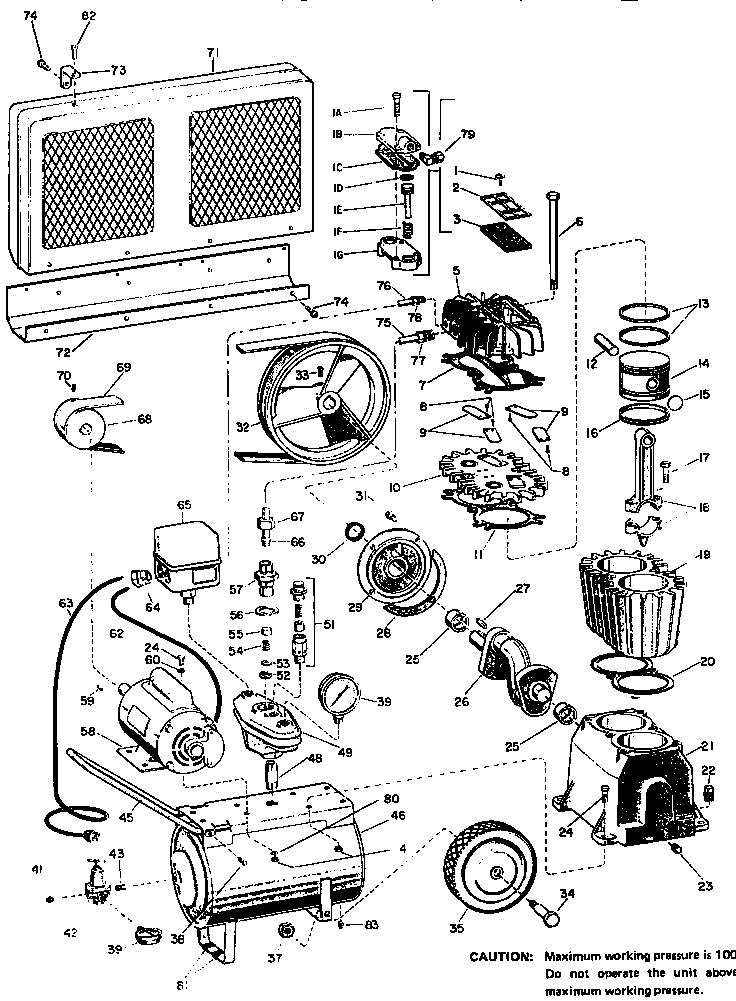 Craftsman model 106154570 air compressor genuine parts