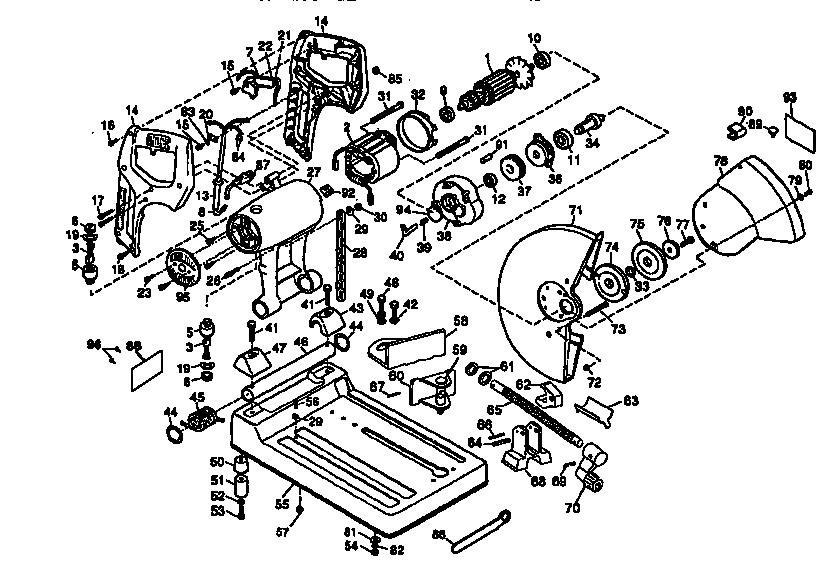Dewalt model DW870 TYPE 3 chop saw genuine parts