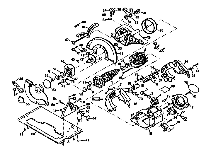 Dewalt model DW362 TYPE 1 circular saw genuine parts