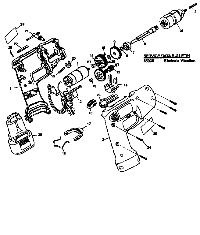 Dewalt model DW942 TYPE 1 drill cordless genuine parts