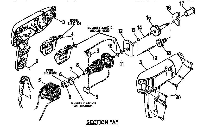 Craftsman model 315101230 drill reversing genuine parts