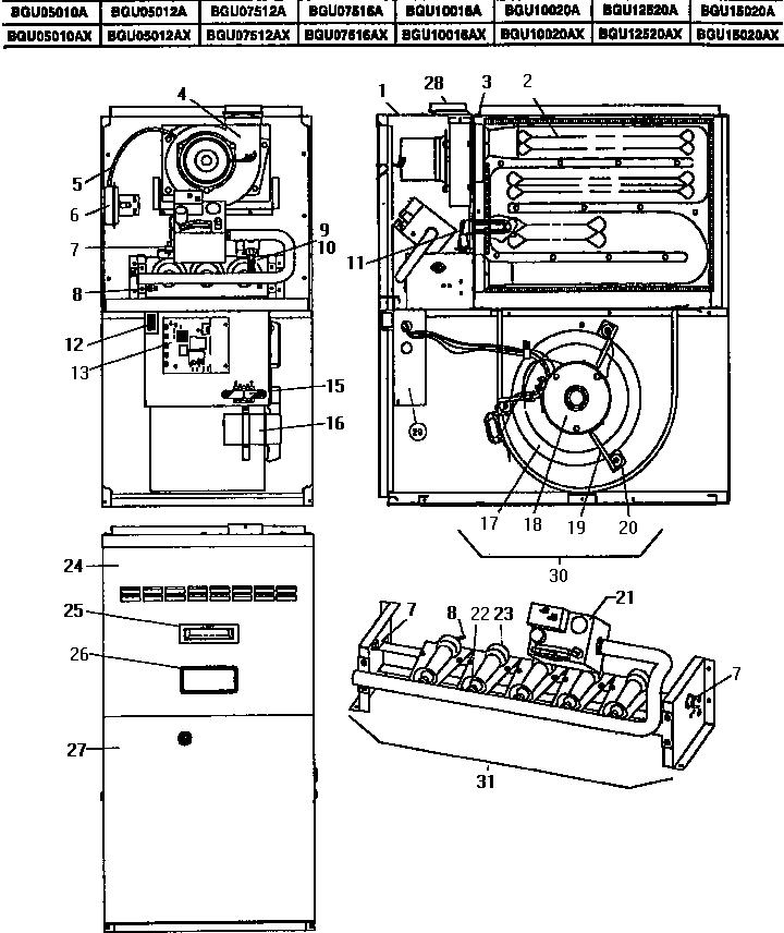 Coleman-Evcon model BGU07516A furnaces/heaters genuine parts