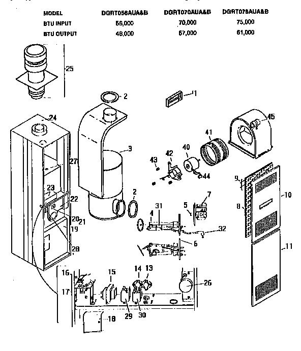 Coleman-Evcon model DGRT070AUA furnaces/heaters genuine parts