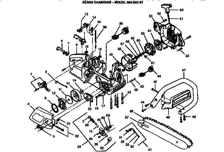 Craftsman model 358352161 chainsaw, gas genuine parts