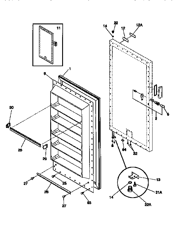 Kenmore model 2539266211 upright freezer genuine parts